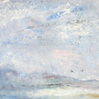 """Greylag"", oil on board, 40cm x 40cm."