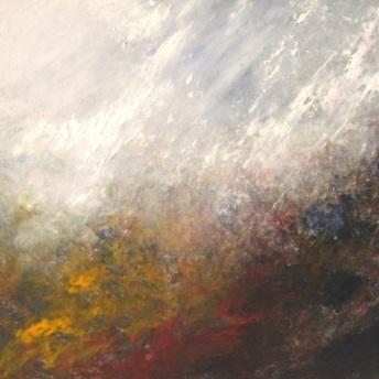 """""""Climbing Through the Rain"""", oil on board, 25x30cm."""